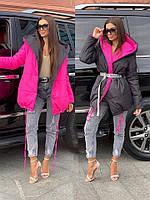 Женская двухсторонняя матовая куртка