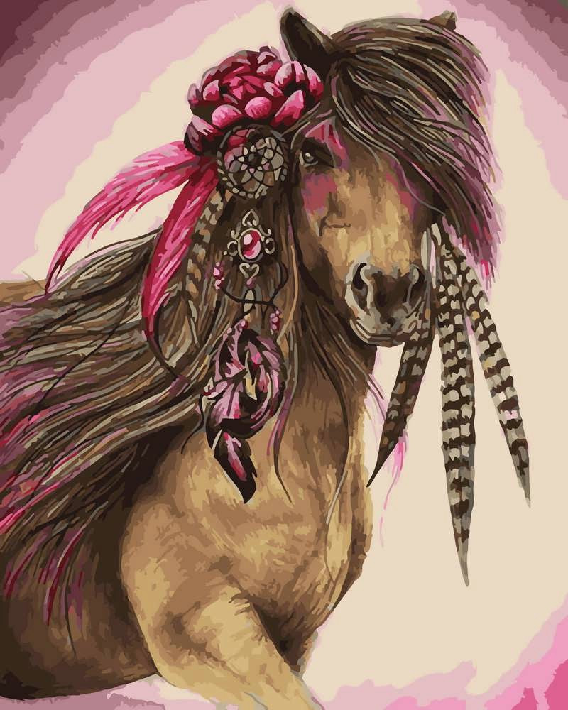 Картина по Номерам 40x50 см. Лошадь с цветком Rainbow Art