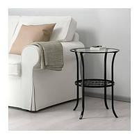IKEA КЛИНГСБУ Придиванный столик, черный, прозрачное стекло, 49x60 см, (201.285.64)