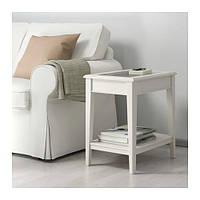 IKEA ЛИАТОРП Придиванный столик, белый, стекло, 57x40 см, (401.730.65)