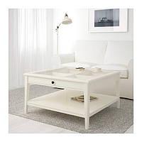 IKEA ЛИАТОРП Журнальный стол, белый, стекло, 93x93 см, (500.870.72)