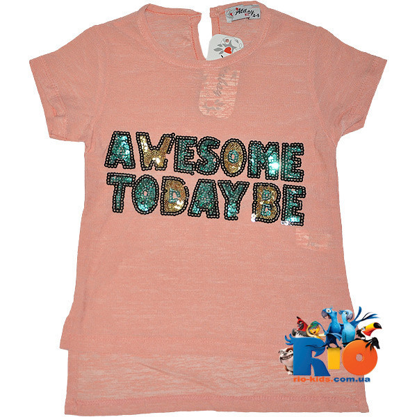 "Яркая летняя футболка ""Awesome"" , из трикотажа , для девочки от 4-8 лет (4 ед. в уп. )"