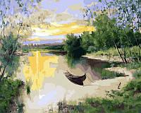 Картина по Номерам 40x50 см. Лодка на пруду Rainbow Art