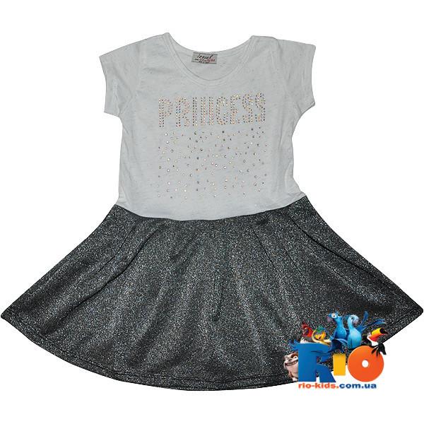 """Летнее платье """"Princess"""" , трикотаж , для девочки от 4-11 лет (6 ед. в уп.)"""