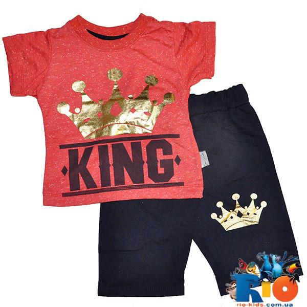 Летний костюм (футболка, шорты), трикотаж, для мальчика 1-2-3 года (3 ед в уп)