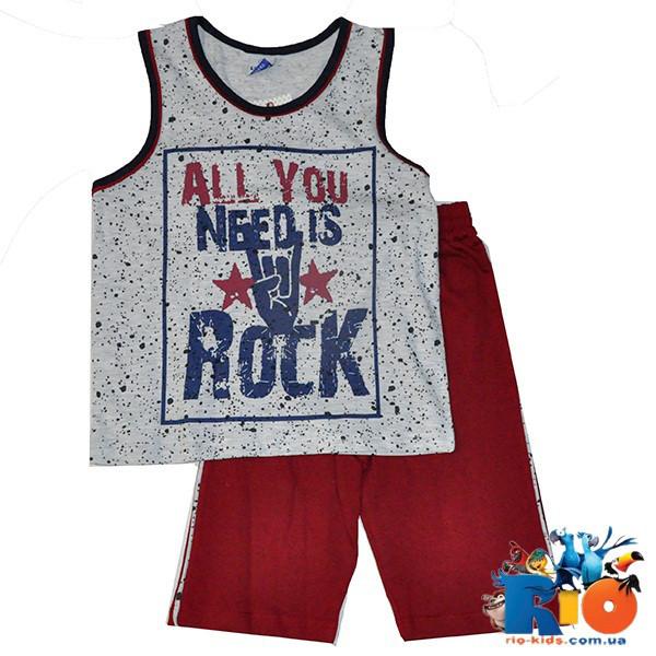 Летний костюм (майка и шорты) из хлопка, для мальчика 5-6-7-8 лет (4 ед в уп)