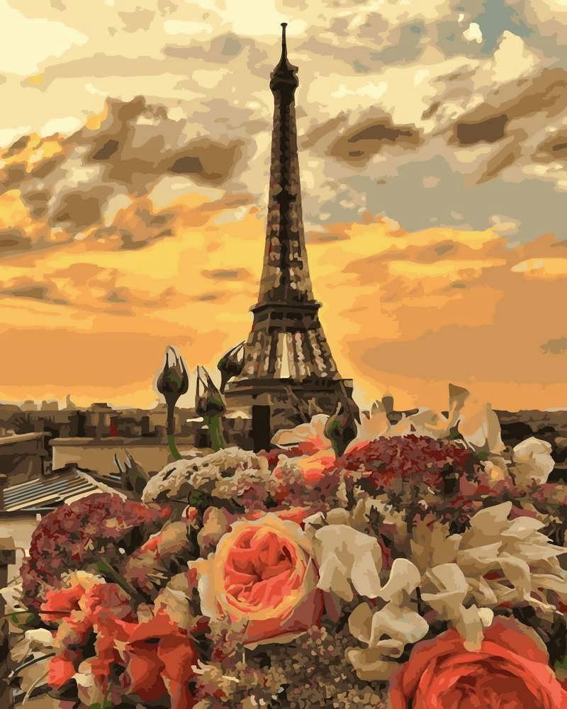 Картина по Номерам 40x50 см. Закат в Париже Rainbow Art