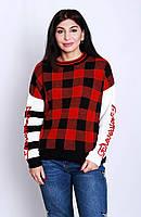 Вязанный женский свитер в принт- клетка (р44-46), фото 1