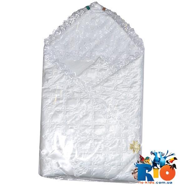 Детский  атласный конверт на выписку с кружевом для новорожденных, 1 ед. в упаковке
