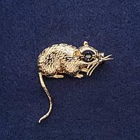 Брошь Крыса символ года 37х37мм желтый металл