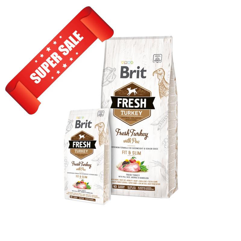 Сухой корм для собак Brit Fresh Turkey with Pea Adult Fit & Slim 12 кг