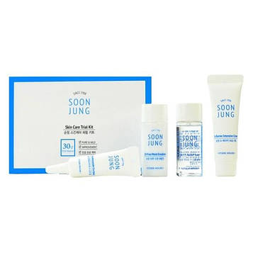 💋🍓🍓ETUDE HOUSE SOONJUNG SKIN CARE TRIAL KIT🍓🍓❤ Набор миниатюр для чувствительной кожи, 4шт