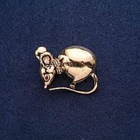 Брошь Мышь символ года 32х30мм желтый металл