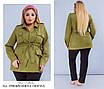 Куртка-пиджак женская короткая на запах с поясом замш 48-50,52-54,56-58,60-62, фото 2
