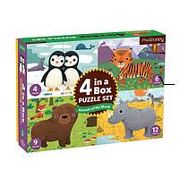 Пазлы Животные мира Mudpuppy 4 in a Box Puzzles (355384)