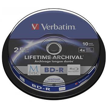 Диск BD Verbatim 25Gb 4x Cake 10pcs Printable M-DISC (43825)