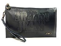 Клатч мужской средний кожаный Armani Jeans 921-2 синий, сумка мужская