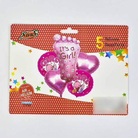 Набор фольгированных шаров C 31793 (500) 2 ЦВЕТА РОЗОВЫЙ И ГОЛУБОЙ в пакете, фото 2