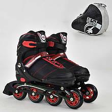 """Ролики 8903 """"L"""" Best Roller цвет-ЧЁРНЫЙ /размер 39-42/ (6) колёса PU, без света, в сумке, d=7.6 см"""
