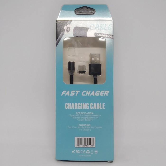 Магнитный кабель USB type C Magnetic USB Cable в оплётке ЧЁРНЫЙ