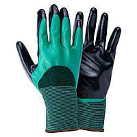 Перчатки трикотажные с двойным нитриловым покрытием р9 (зелено-черные манжет) Sigma (9443591)