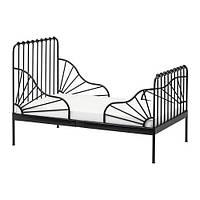 IKEA МИННЕН Каркас раздв кровати+реечн днище, черный, 80x200 см, (391.246.22)