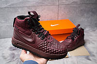 Женские зимние кроссовки термоносок в стиле Nike LF1 Duckboot, бордовые 36 (23 см)