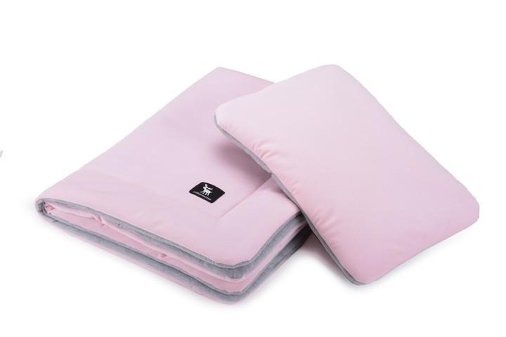 Плед с подушкой Cottonmoose Cotton Velvet 408/150/49 розовый (бархат) с серым меланж
