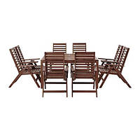 IKEA ЭПЛАРО Стол+8кресел, для сада коричневая морилка, (392.898.11)