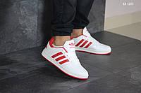 Мужские кроссовки в стиле Adidas La marque, кожа, полиуретан, белые с красным 45 (29 см)