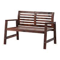 IKEA ЭПЛАРО Садовая скамья со спинкой, коричневый коричневая морилка, (802.085.29)