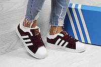 Женские зимние кроссовки в стиле Adidas Superstar, бордовые 39 (24,7 см)