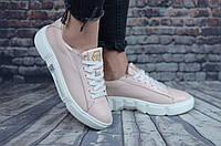 Женские кроссовки/кеды, кожа, пена, пудровые 39 (25,5 см)
