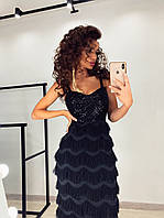 Черное платье футляр из стрейч сетки с вышивкой и пайетками юбка бахрома LUX