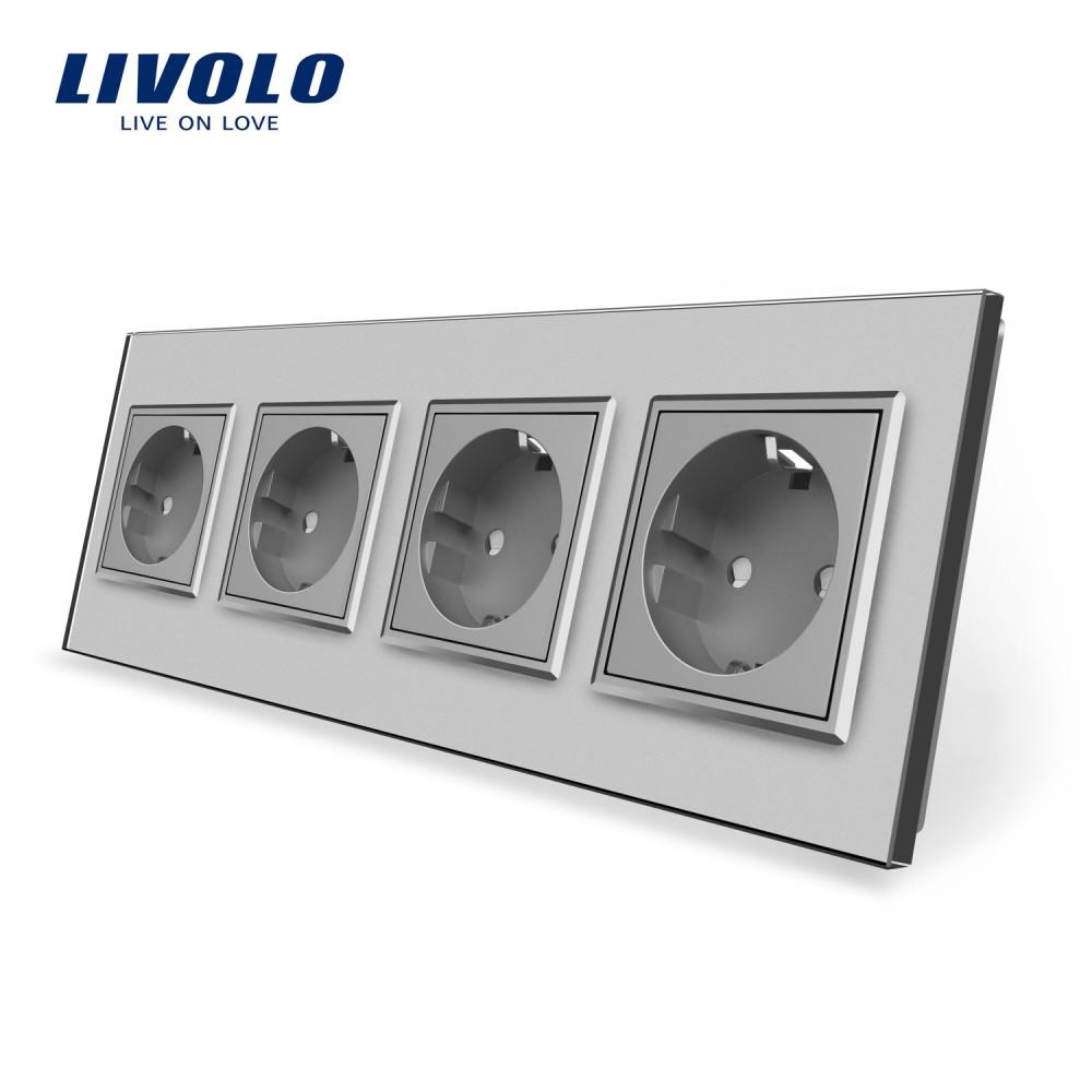 Розетка четырехпостовая с заземлением Livolo, цвет серый, материал стекло (VL-C7C4EU-15)