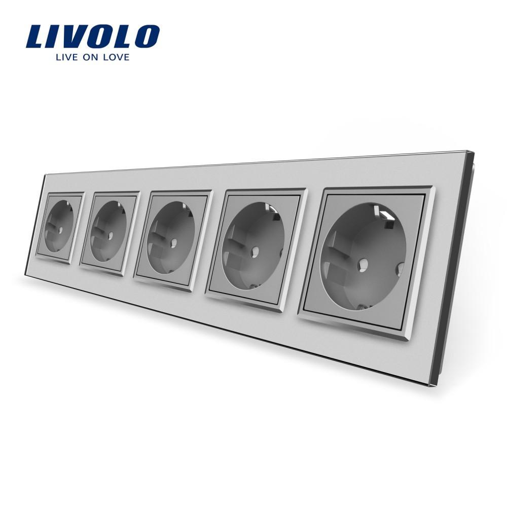 Розетка пятипостовая с заземлением Livolo, цвет серый, материал стекло (VL-C7C5EU-15)