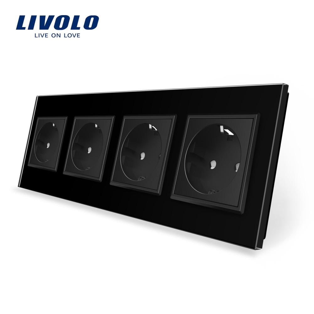 Розетка четырехпостовая с заземлением Livolo, цвет черный, материал стекло (VL-C7C4EU-12)