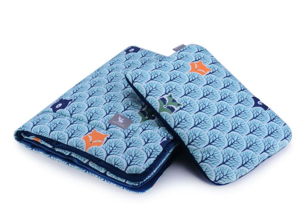 Плед с подушкой Cottonmoose Cotton Velvet 408/86/145 cotton velvet dark navy (голубой (лесные животные) с