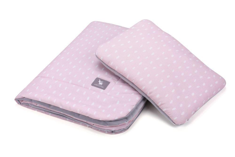 Плед с подушкой Cottonmoose Cotton Velvet 408/132/117 rain pink cotton velvet gray (розовый (капли) с серым (бархат))