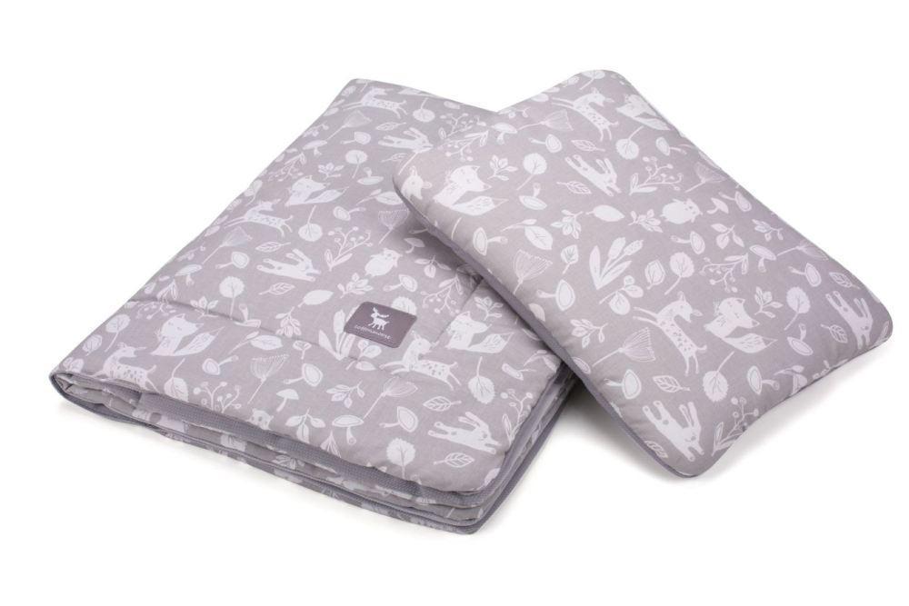 Плед с подушкой Cottonmoose Cotton Velvet 408/130/117 forest gray cotton velvet gray (серый (лес) с серым