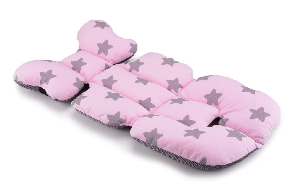 Матрас в коляску и автокресло Cottonmoose Air 828/27/99 pink star cotton jersey siatka szara (розовый