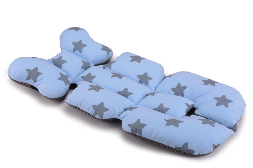 Матрас в коляску и автокресло Cottonmoose Air 828/26/99 голубой (звезды), серая сетка