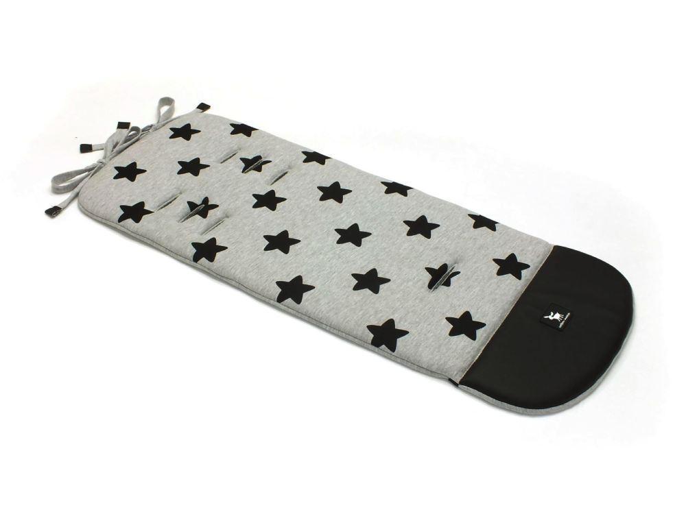 Матрац в коляску Cottonmoose Leather 590/29/49 сірий меланж (чорні зірки), чорна еко шкіра