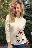 Кофта с россыпью ярких букв LUREX - кремовый цвет, S (есть размеры), фото 1
