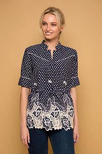 Блуза с прошвой и кантами KATI темно-синяя #O/V