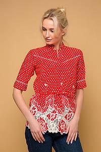 Блуза с прошвой и кантами KATI красная #O/V