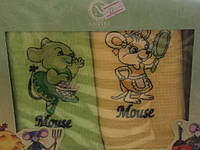 Год Крысы Полотенца Вафельные Кухонные Подарочный Набор 2 Шт Вышивка Крысы Nilteks Размер 40*60