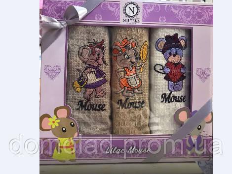 Год Крысы Полотенца Вафельные Кухонные Подарочный Набор 3 Шт Вышивка Крысы Размер 40*60