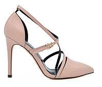 Женские натуральные кожаные летние бежевые туфли на шпильке 8-11 см Польша