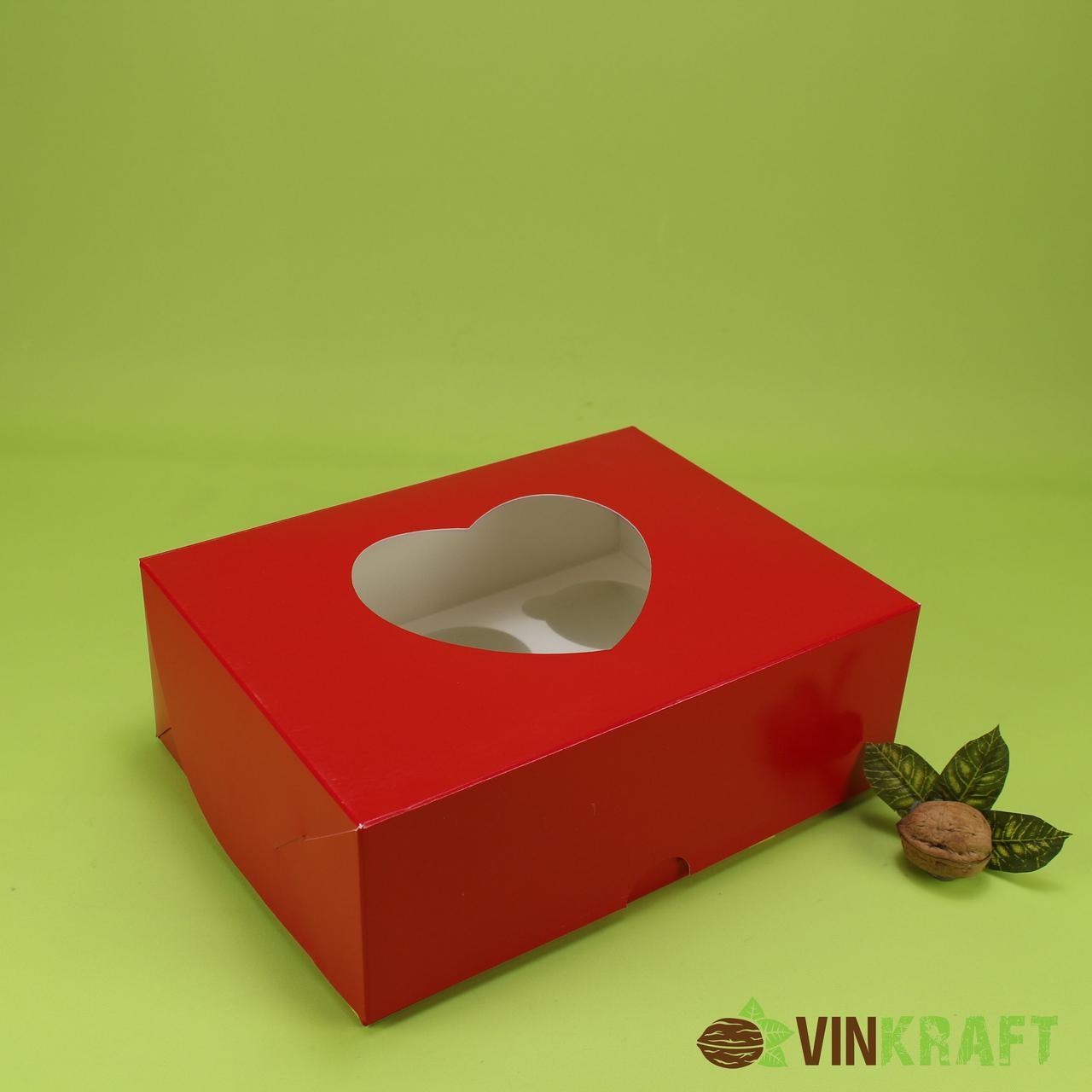 Коробка 240*180*90 для  капкейков з вікном у формі серця (6 шт), червона